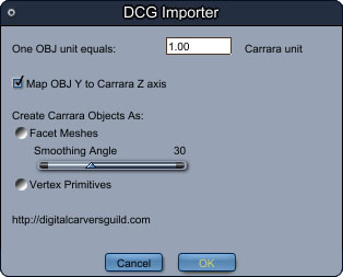 New Carrara plugin: DCG Importer, a sequence OBJ Importer