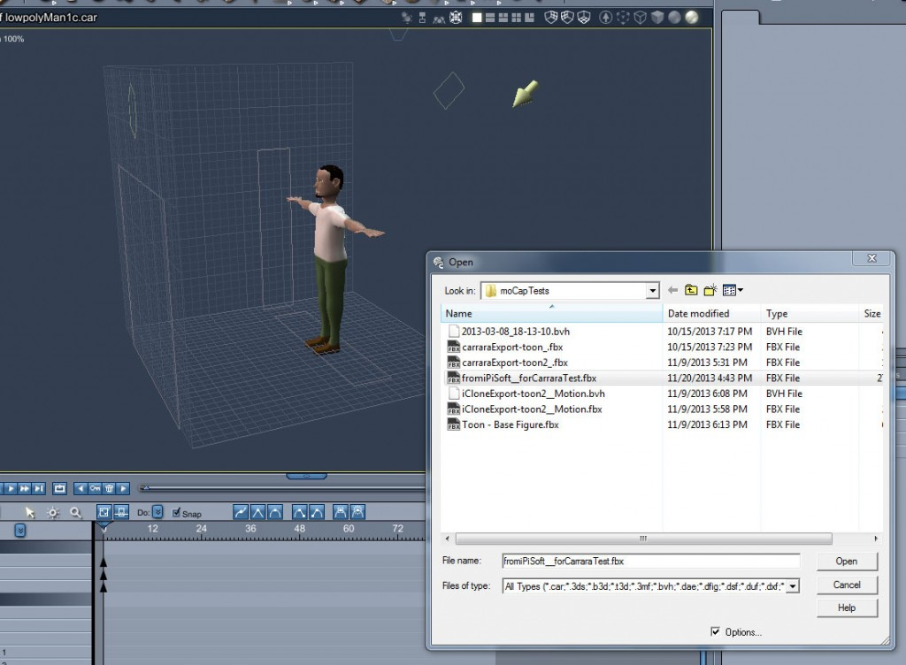 Import the FBX motion file into Carrara