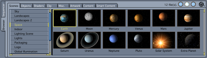 Low res models of the planets are included with Carrara