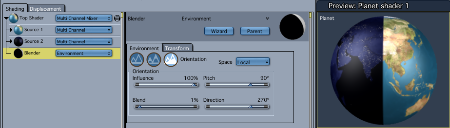 Environment: Orientation used in a Multi-Channel Mixer allows blending of separate Day and Night shaders