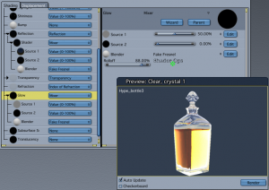 Glass shader uses falloff in Glow and Reflection